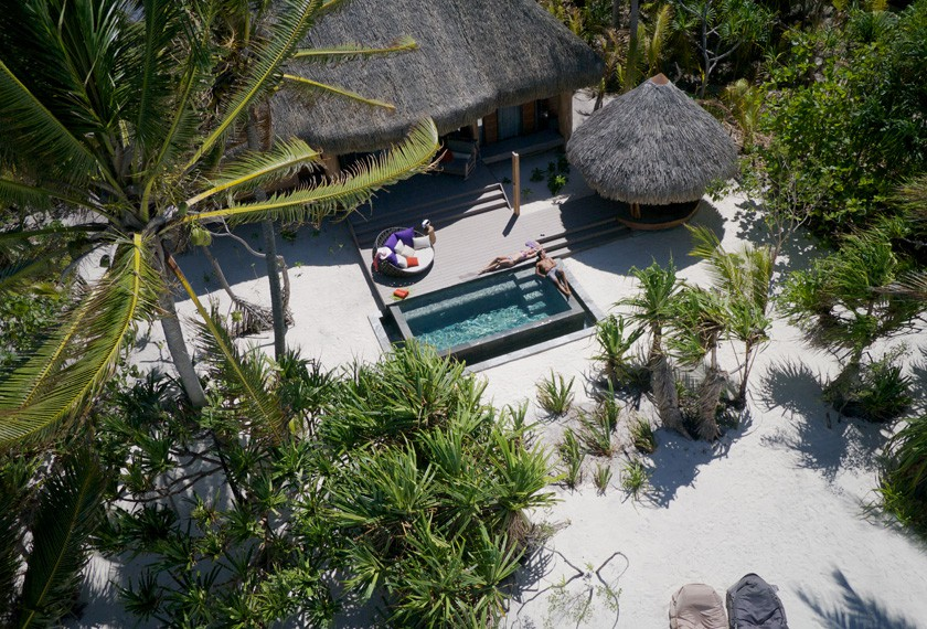 Aerial view on a one bedroom a the Brando Resort in Tetiaroa island