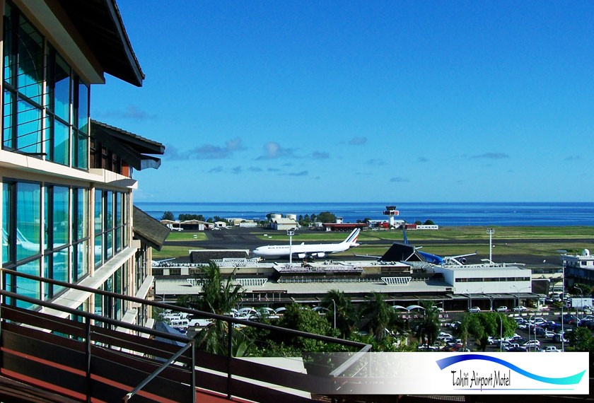 View on the Faaa Airport from the Tahiti Airport Motel