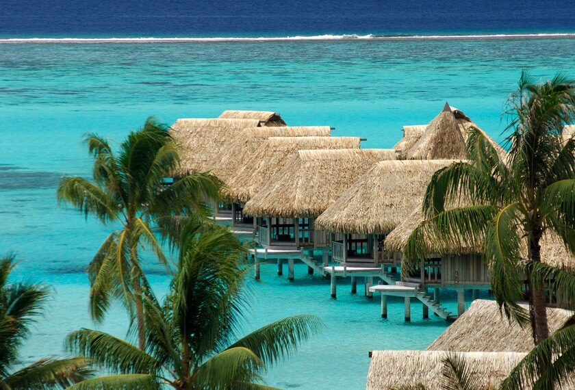 Overwater bungalows at the hotel Sofitel Moorea