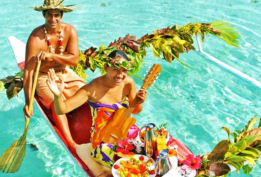 Canoe breakfast at the Tahaa Resort in the islands of Tahiti