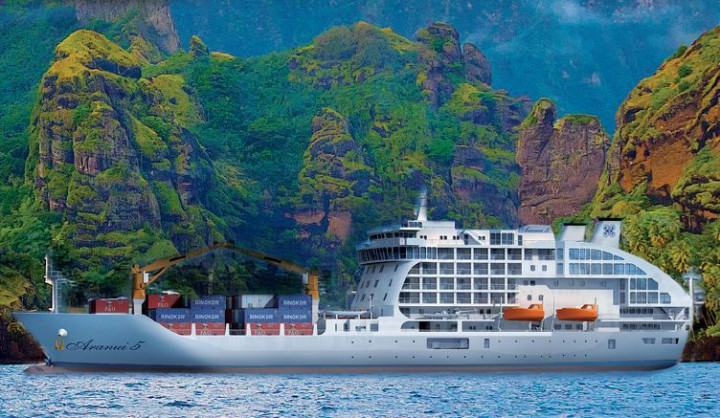 Aranui 5 - Mixed passenger fret ship in the Marquesan islands