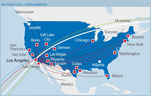 Air Tahiti Nui Map - USA