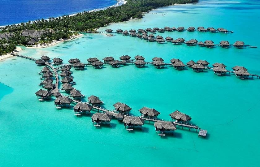Aerial view on the InterContinental Bora Bora Thalasso and Spa Resort