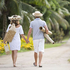 Couple walking on a Polynesian island