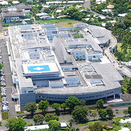 Aerial viiw of the Taaone Hospital in Tahiti